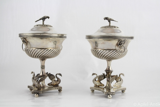 PAIR SILVER SUGAR URNS   SWEDEN around 1830