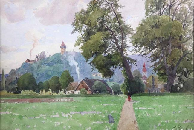 ZETSCHE, Eduard VIEW ON THE CASTLE CLAM